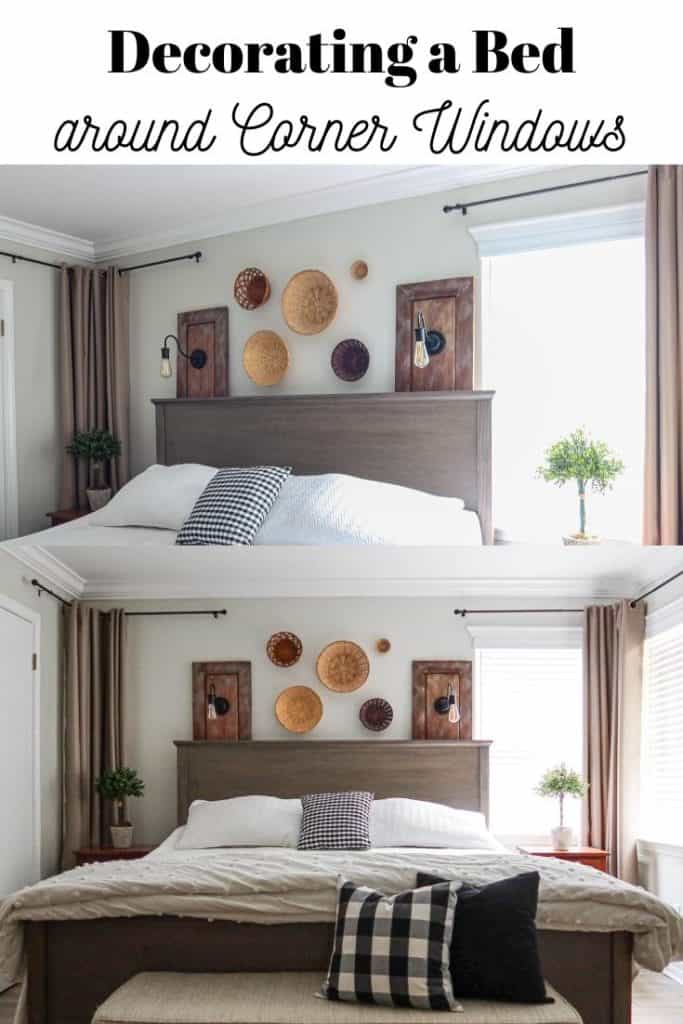 placing a bed in front of corner windows and decorating around it