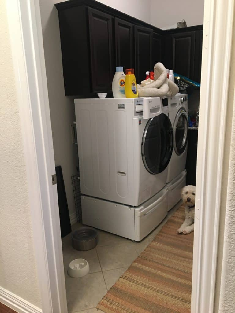 cramped laundry room