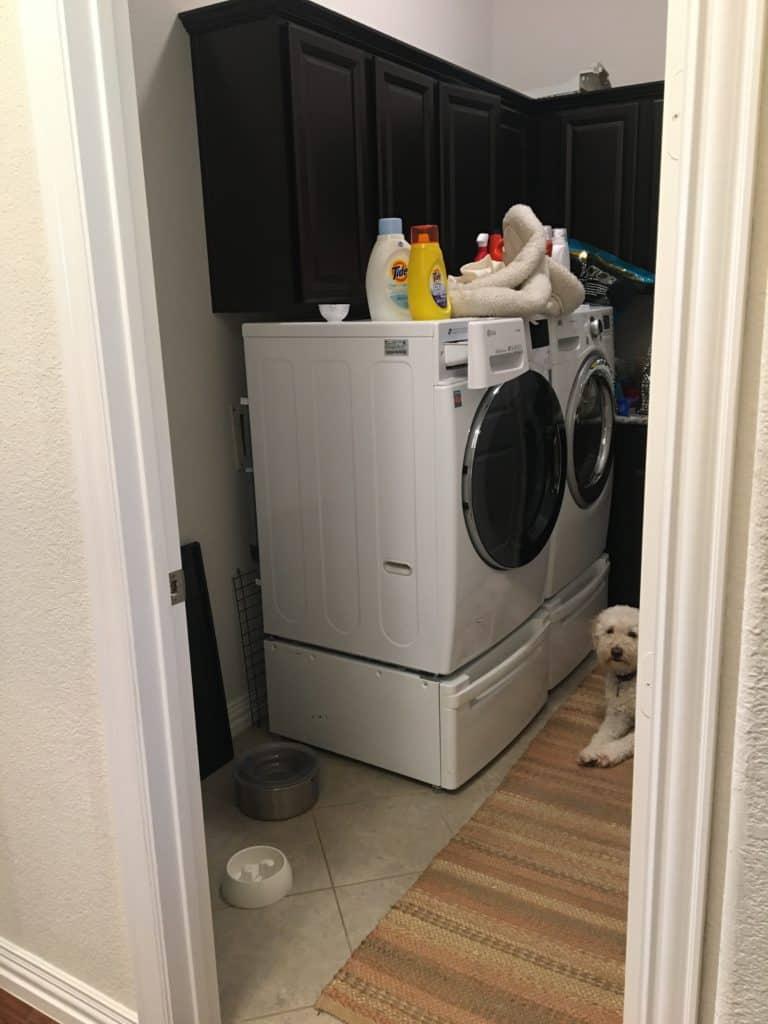 cramped laundry room