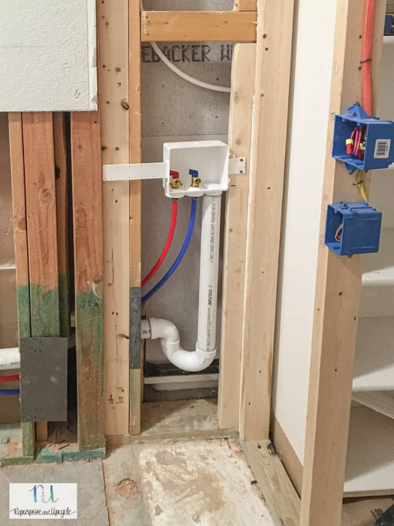 new plumbing for laundry room remodel