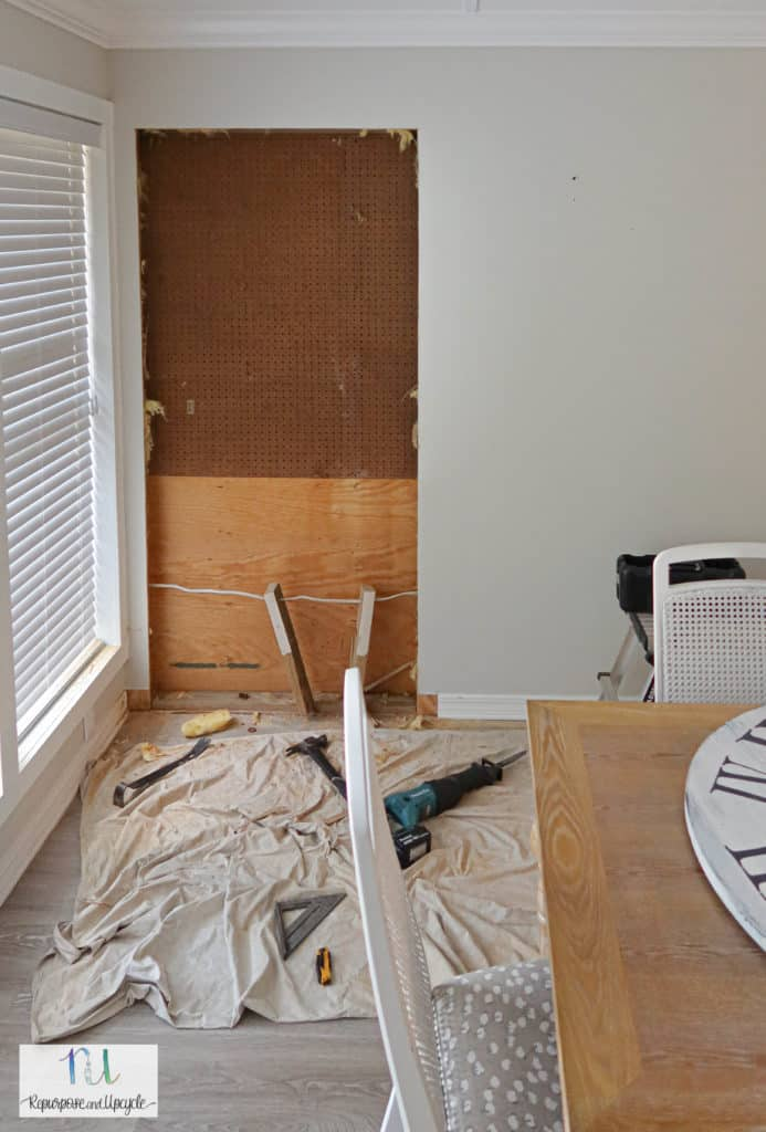 removing sheetrock for the new doorway