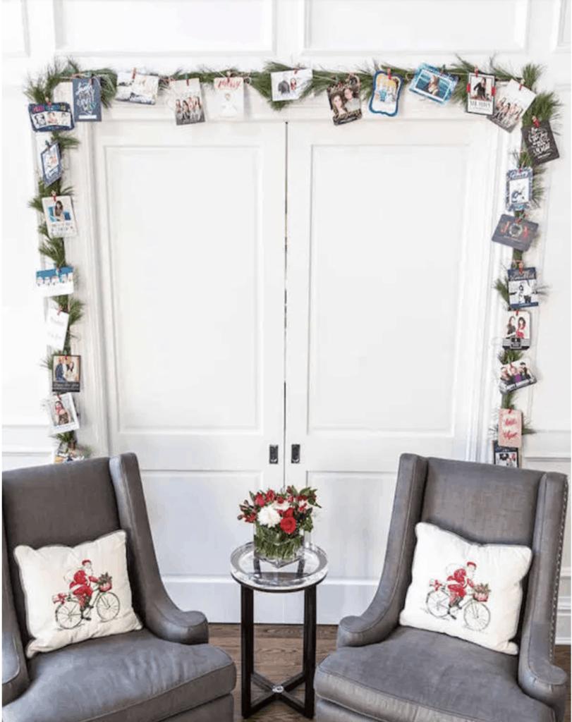 Christmas card display on garland