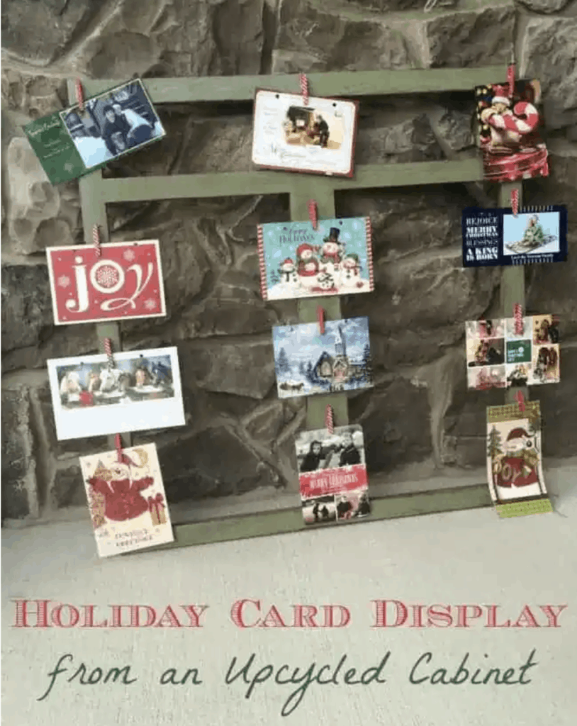 Christmas card holder from an upcycled cabinet