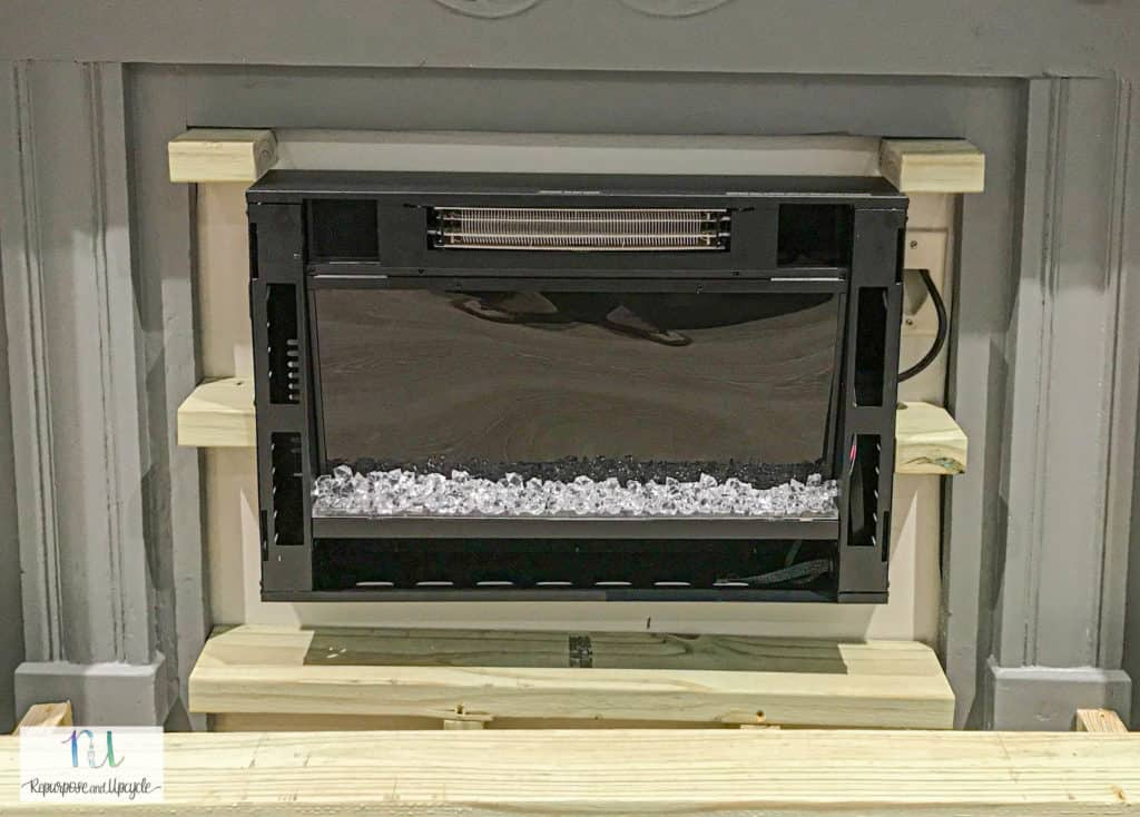 building the base for the DIY raised electric fireplace hearth