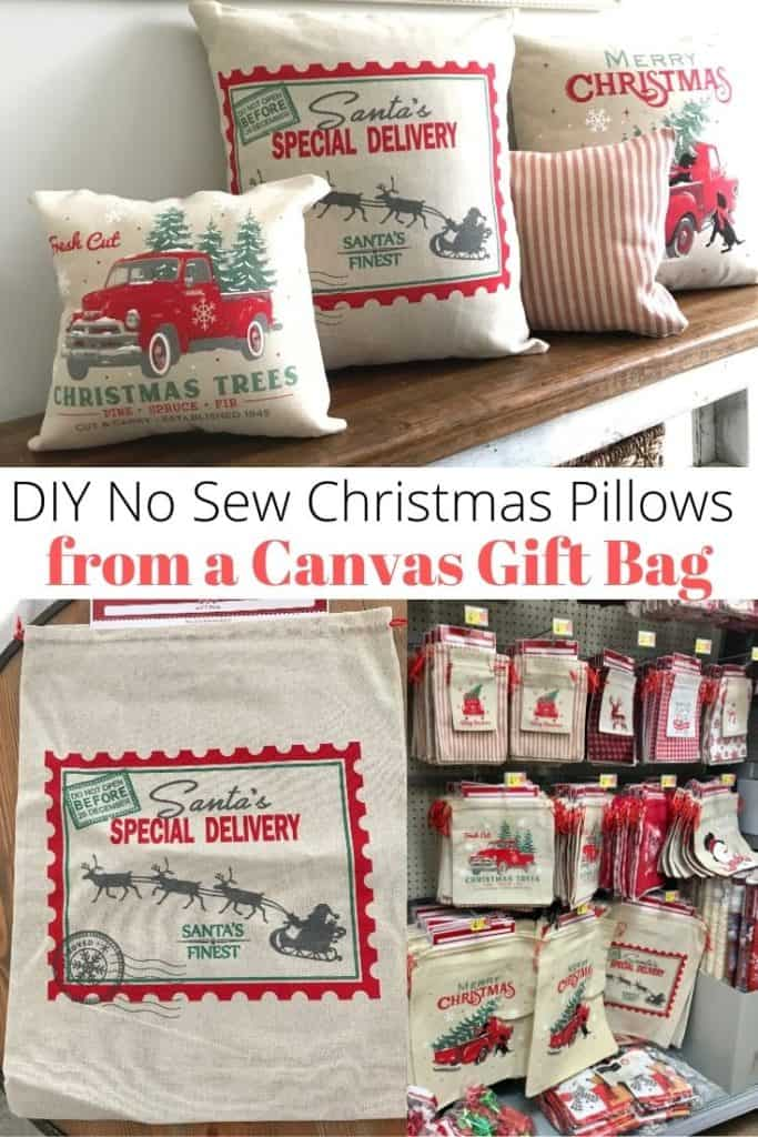 DIY No sew Christmas pillows from a canvas gift bag
