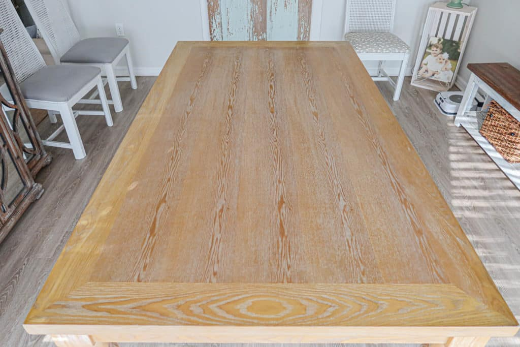 dining room table before the tinted top coat