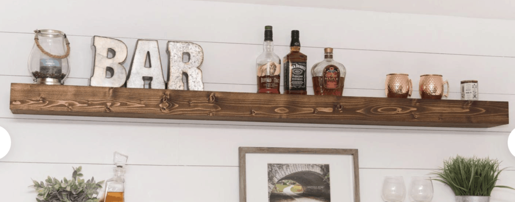 beverage bar floating shelf