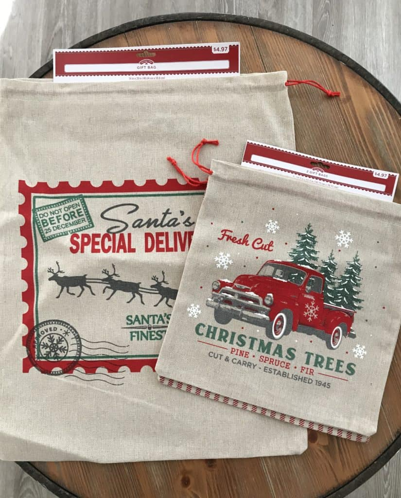 Canvas Christmas gift bags from Walmart