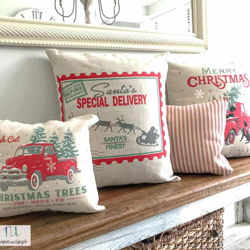 no sew pillows from Christmas canvas gift bags