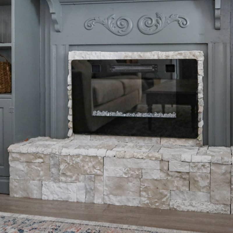 DIY raised electric fireplace hearth
