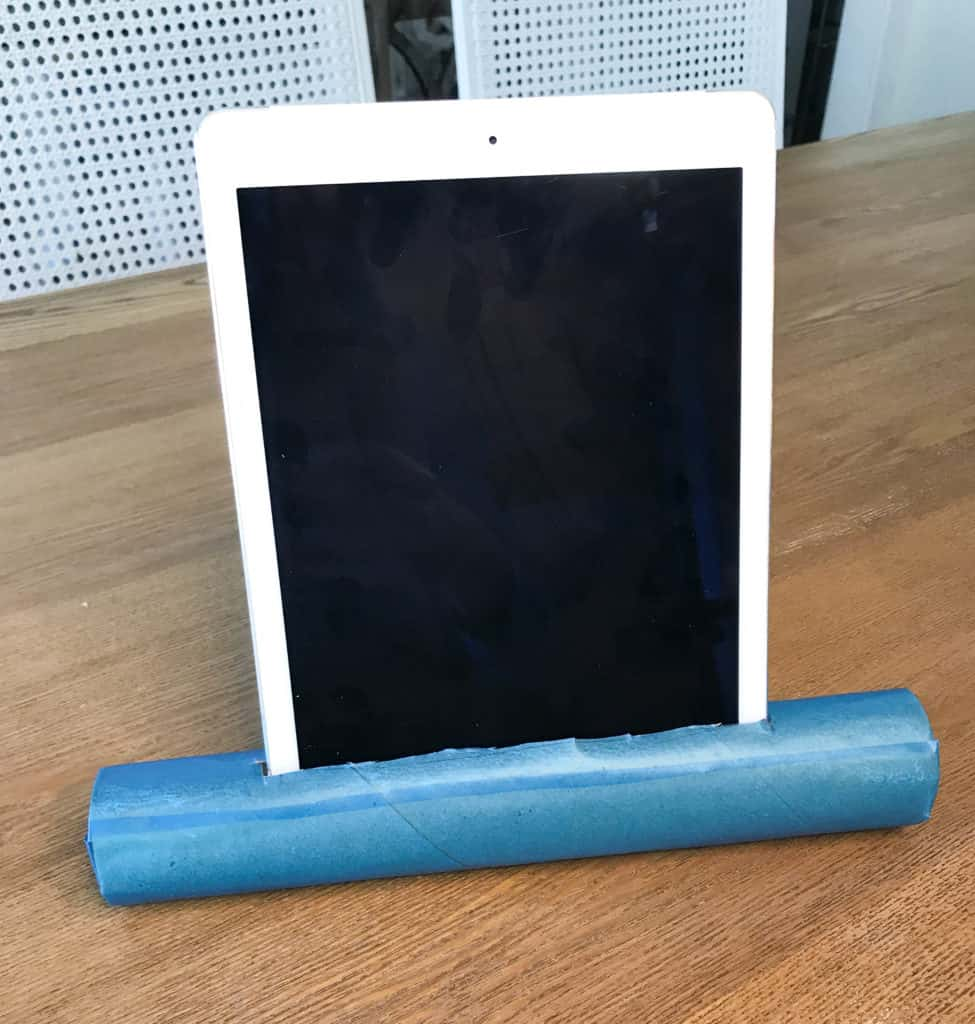 DIY tablet stand from paper towel roll