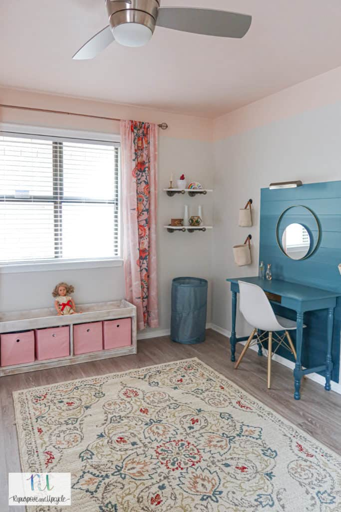 girls room with pink ceiling and green accents