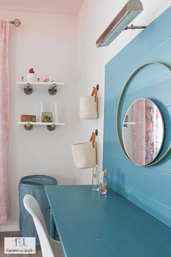 pipe shelves in girls room