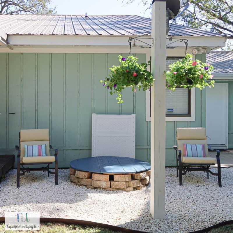 gravel patio refresh with Ryobi Cordless Leaf Vacuum