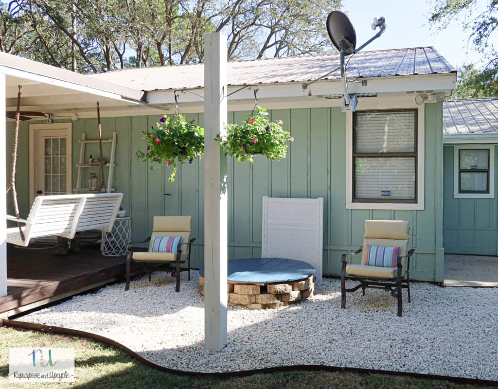Gravel patio refresh with Ryobi leaf vacuum