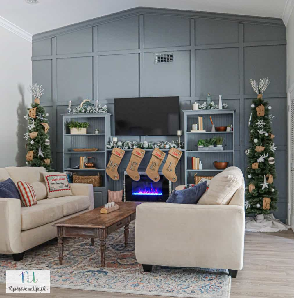 Christmas home tour with tone on tone feature wall and raised electric fireplace hearth