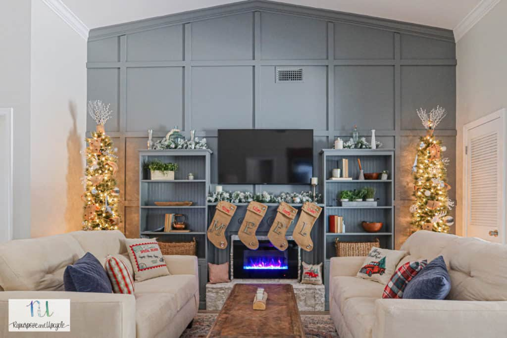 Christmas home tour with tone on tone feature wall and two pencil Christmas trees