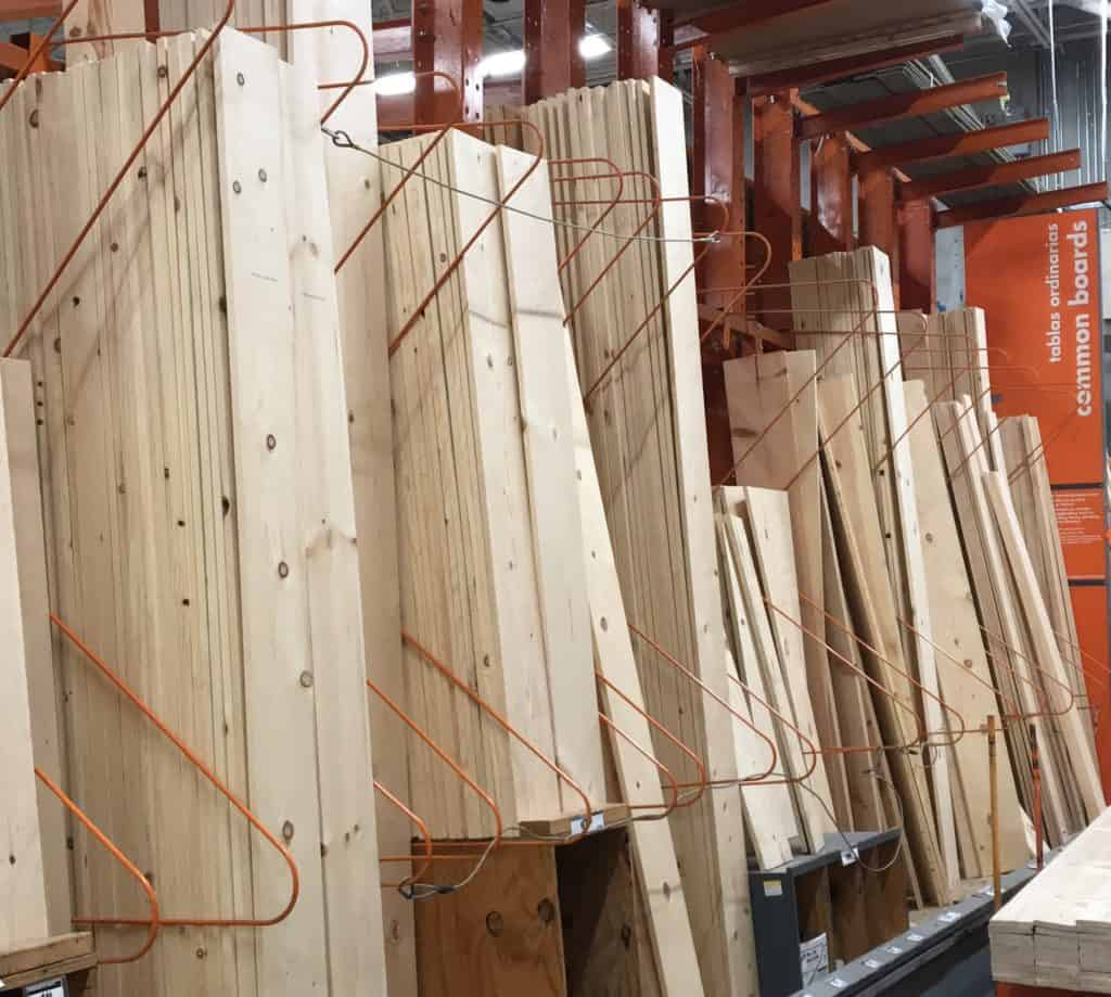 common boards at hardware store