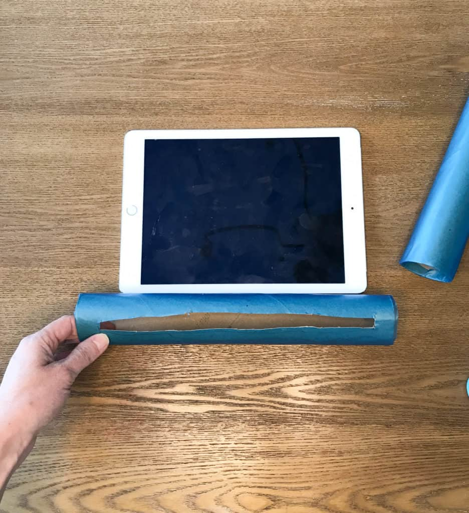 hole for tablet stand in paper towel tube