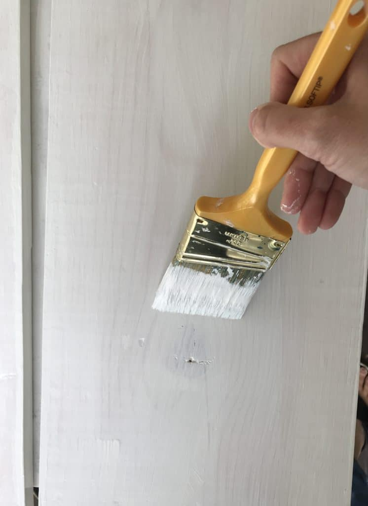 Painting the wood shelves