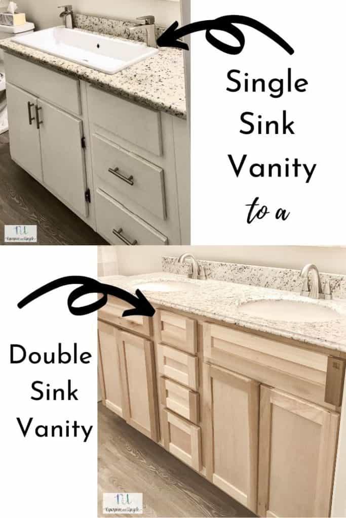 single sink vanity to a double sink vanity
