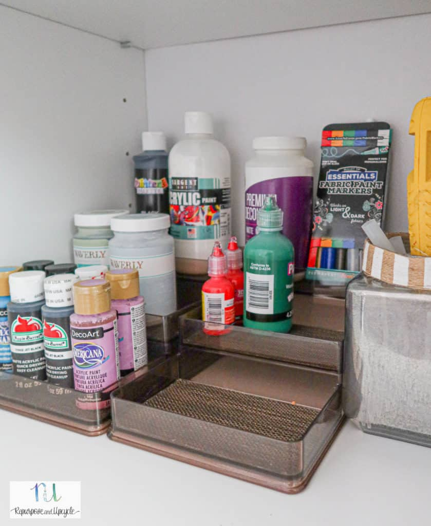 craft cabinet organization with paint
