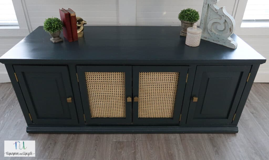 moody eclectic TV stand makeover