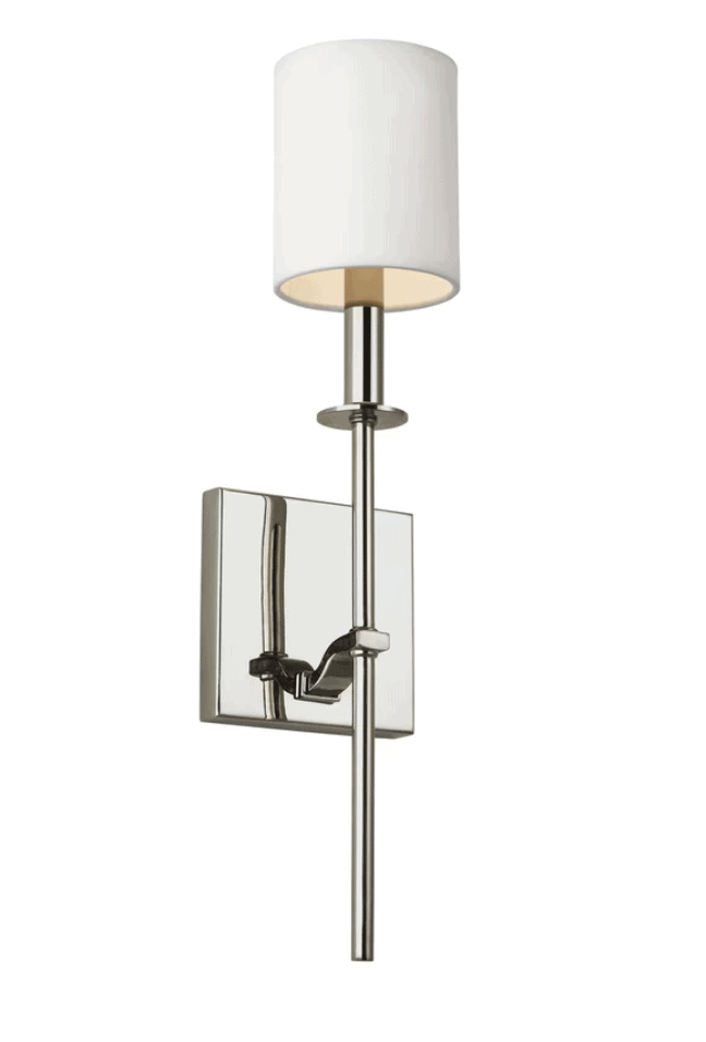 nickel sconce light with shade