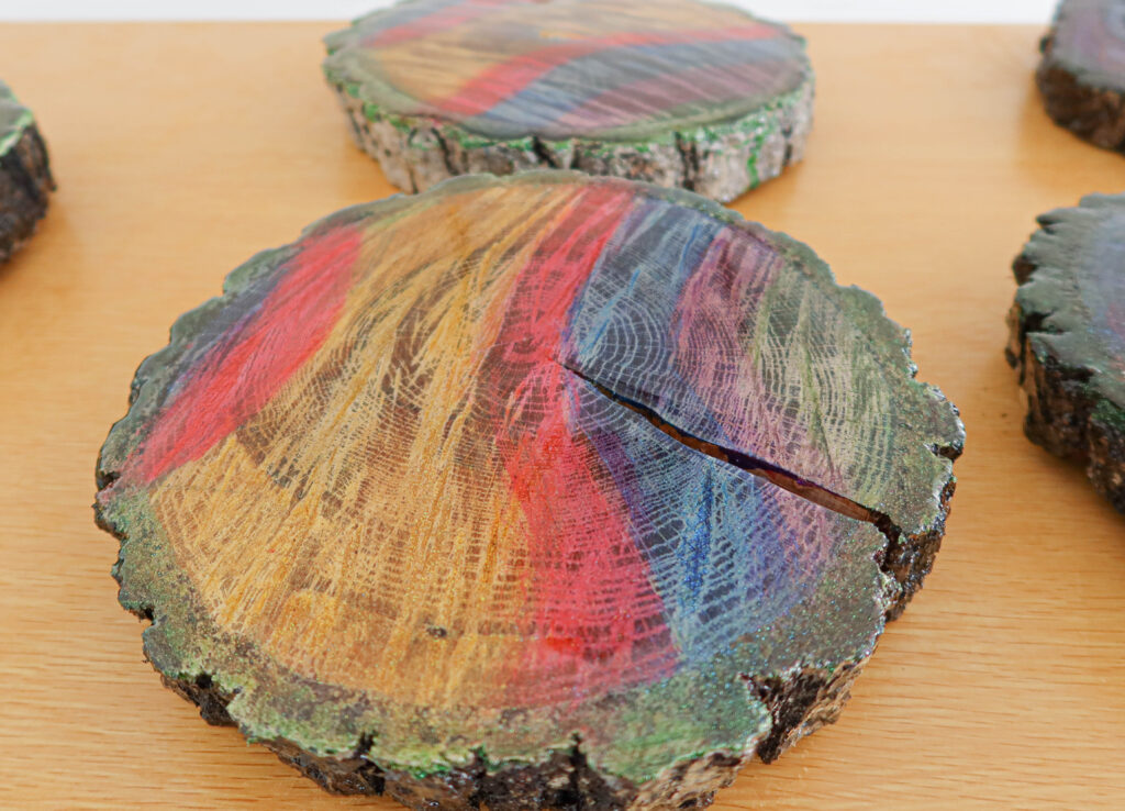 painted tree slice with UNICORN SPiT
