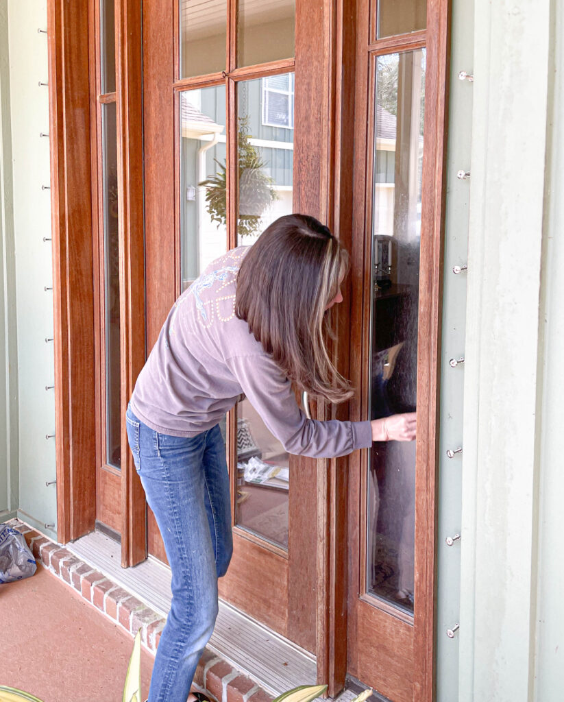 sanding an exterior wood door