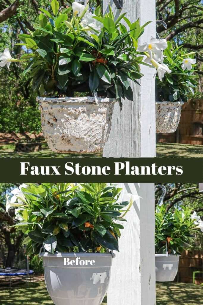 DIY faux stone hanging planters