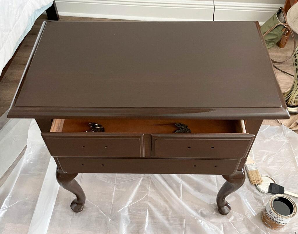 bedside table with Unicorn SPiT glaze coat and sealer