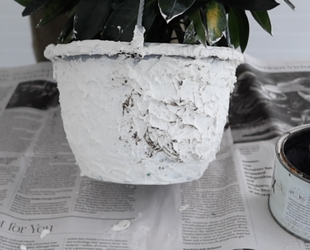 dark wax on spackle paste to age a new pot