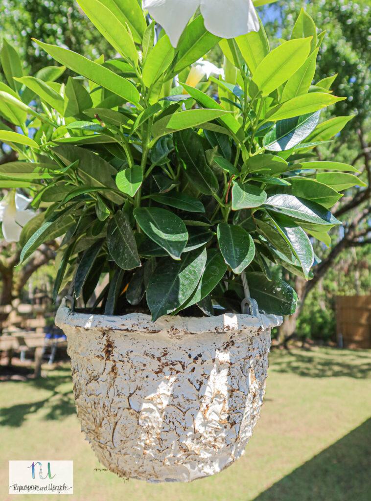 faux stone hanging planter