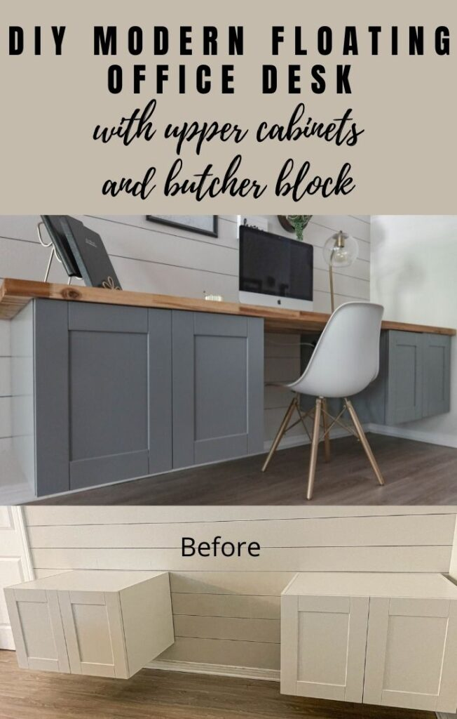 DIY modern floating office desk with upper cabinets and butcher block
