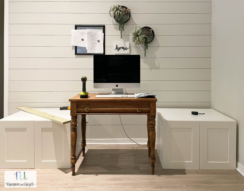 building a DIY modern floating desk with upper cabinets