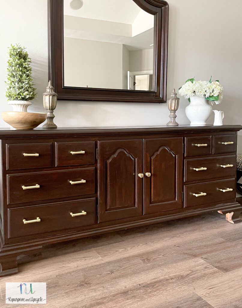 dresser makeover with gel stain