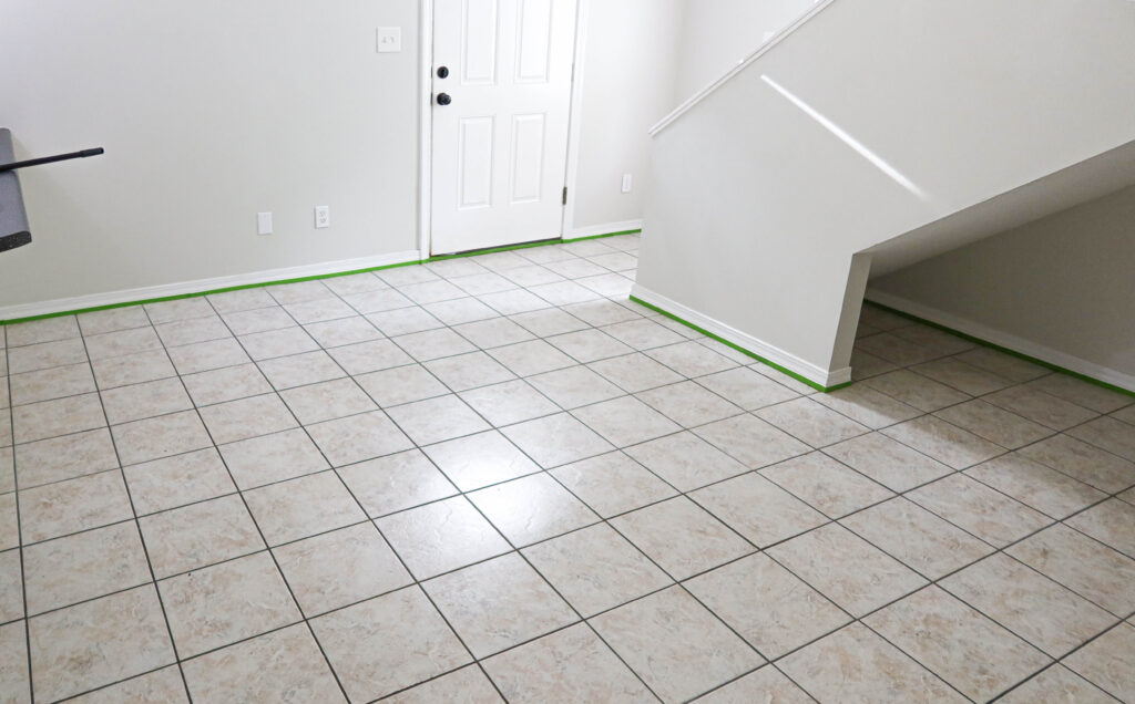 outdated tile before paint