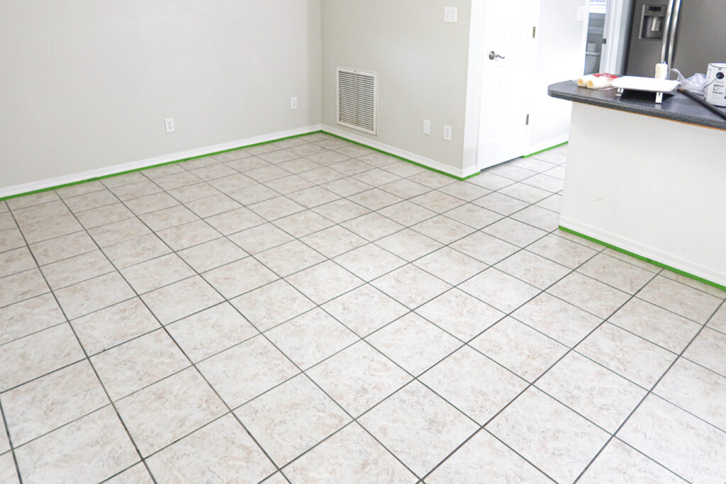 outdated tile before tile paint