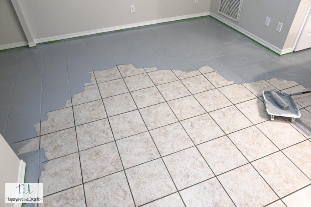 painting tile floor with RustOleum floor paint