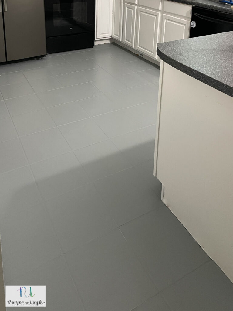painted gray tile in kitchen