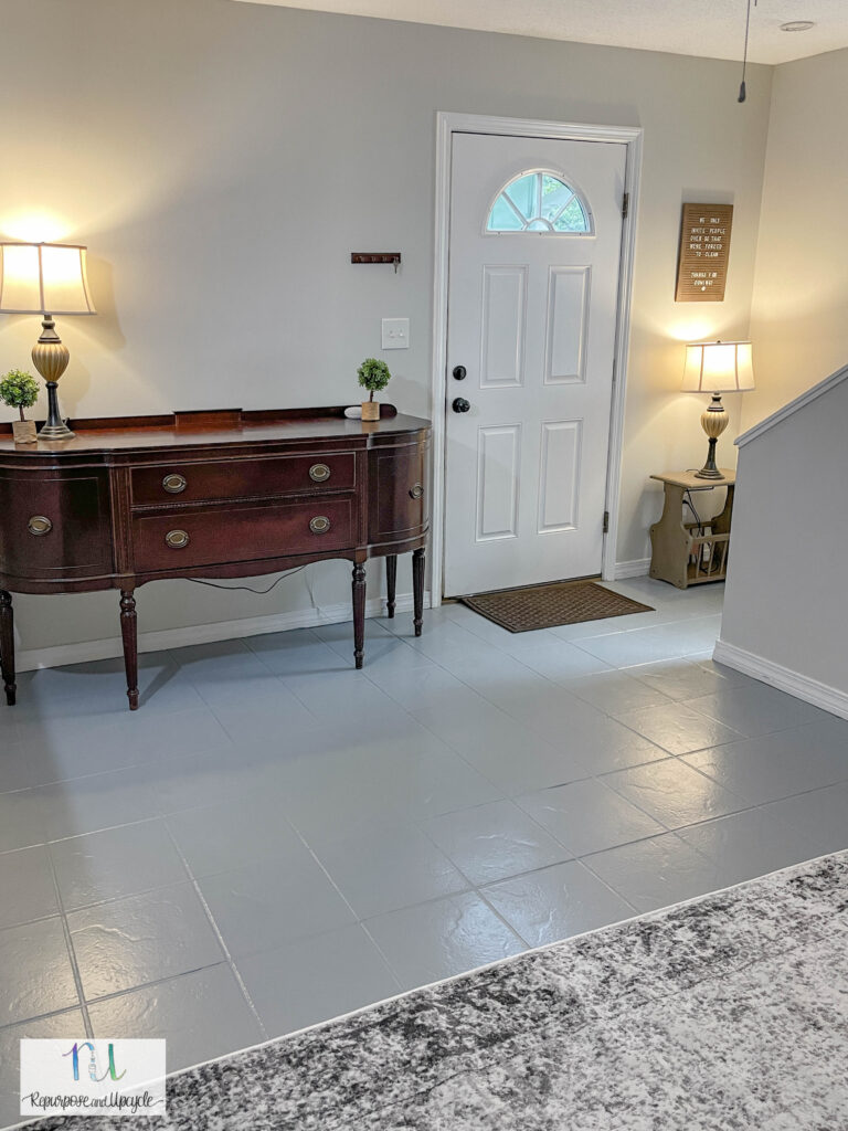 painted gray tile in living room