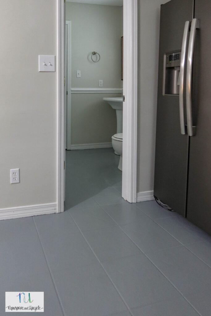 Painted tile in bathroom
