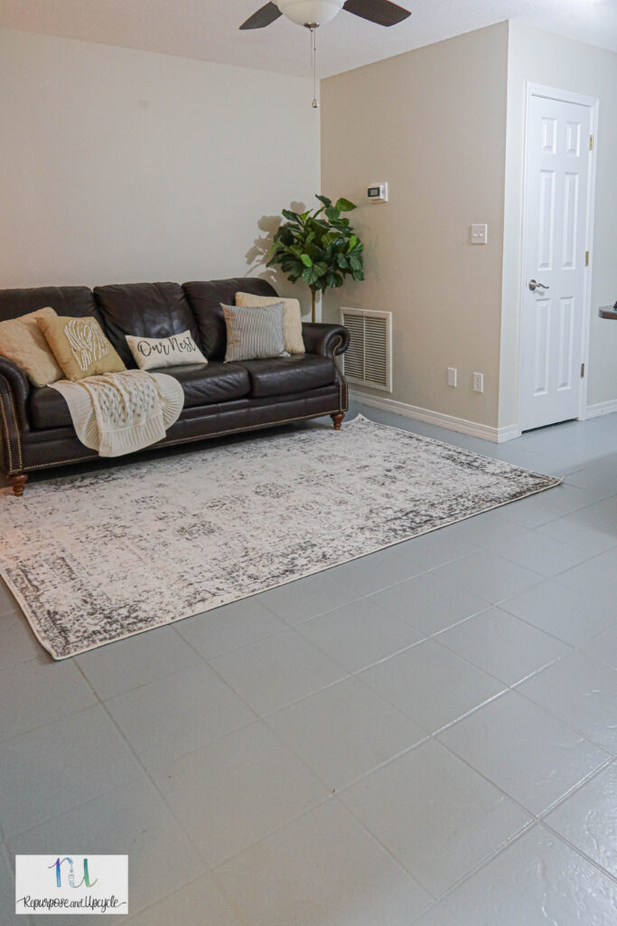 Rust-Oleum painted gray tile floors