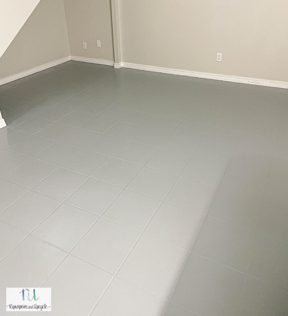 painted gray tile
