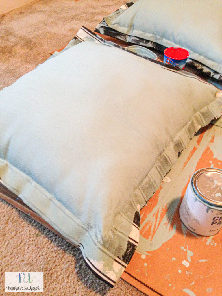 chalk painting outdoor cushions and fabric