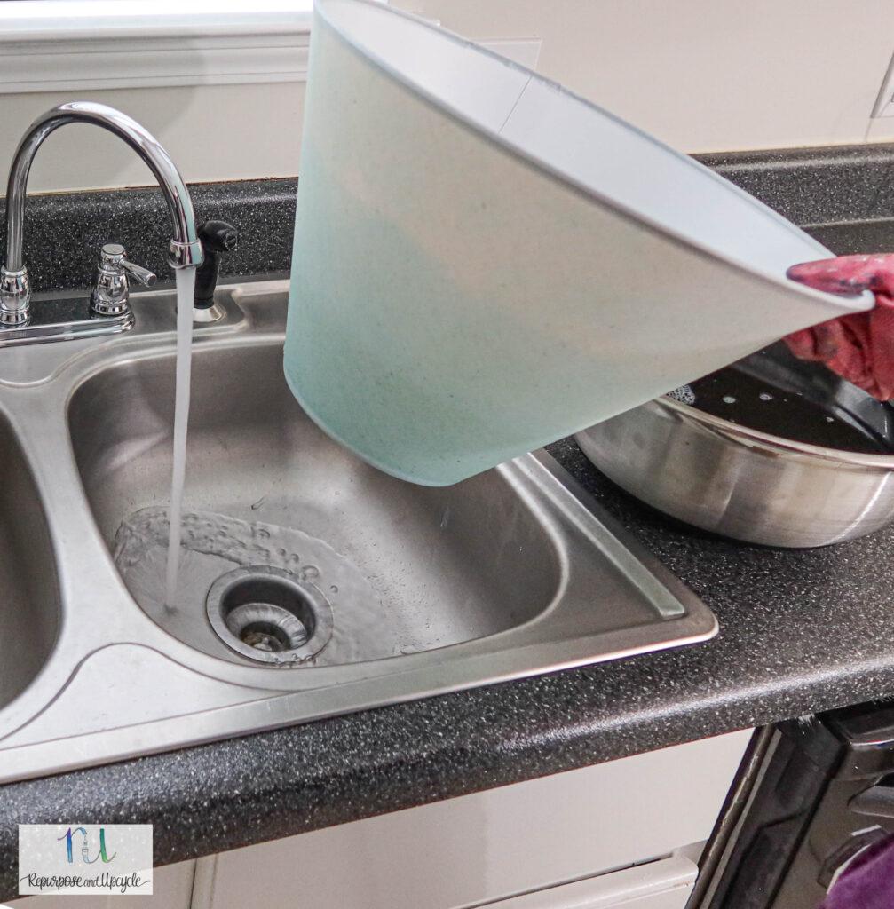 rinsing lampshade after using Rit Dye
