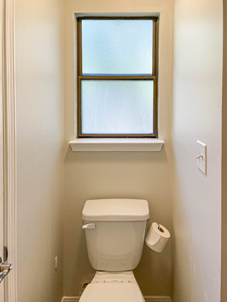toilet room before the budget remodel