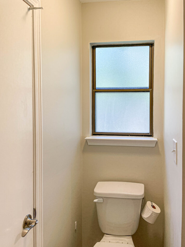 the bathroom before the budget remodel