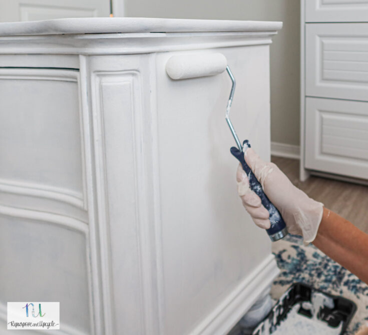 using roller to apply Heirloom Traditions ALL-IN-ONE paint